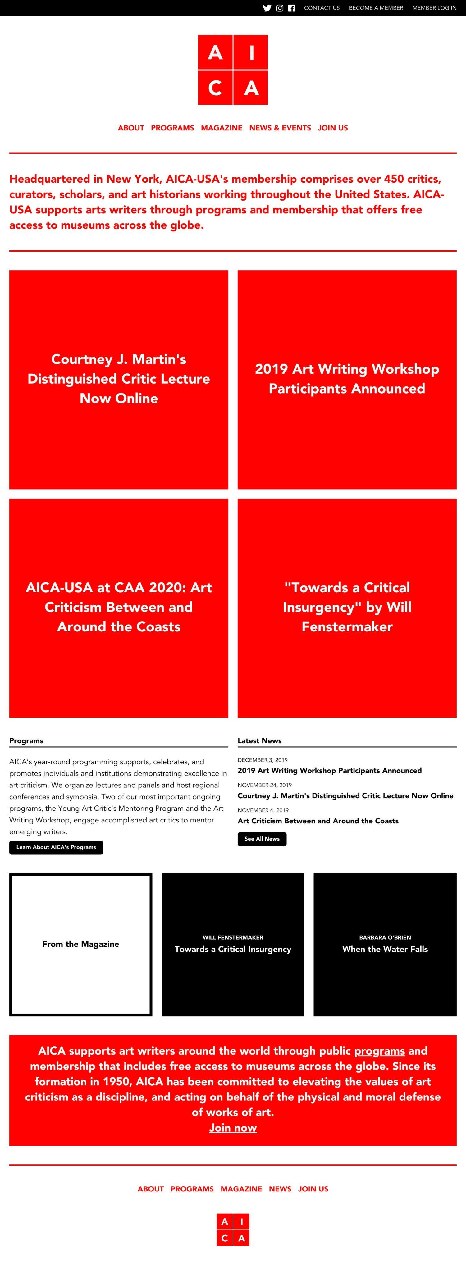 Screenshot of the AICA-USA website's homepage