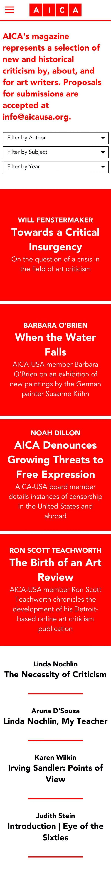 Screenshot of the AICA-USA website's magazine page