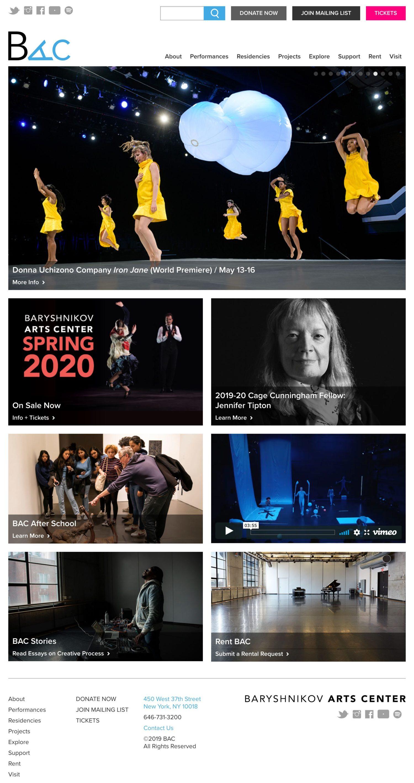 Screenshot of the Baryshnikov Arts Center website's homepage