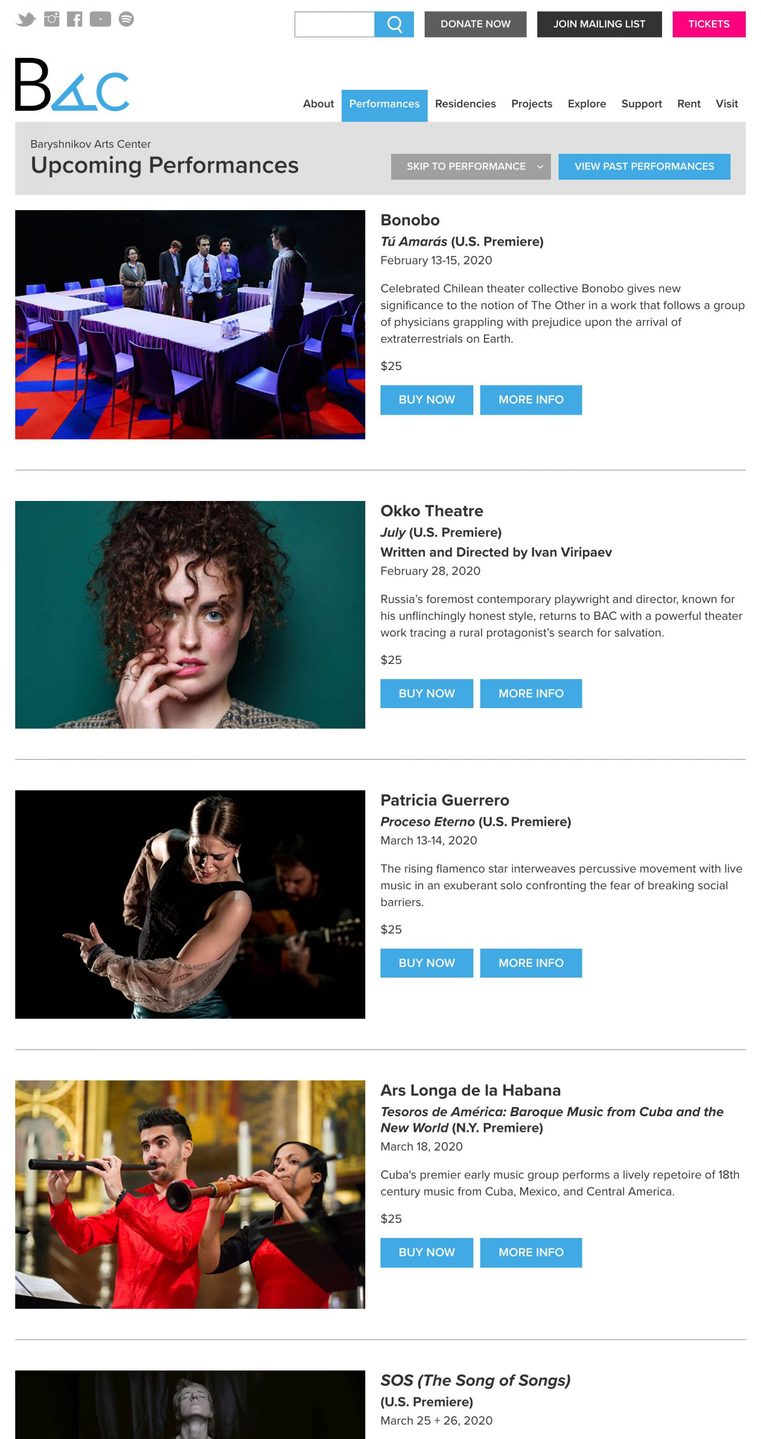 Screenshot of the Baryshnikov Arts Center website's upcoming performances page