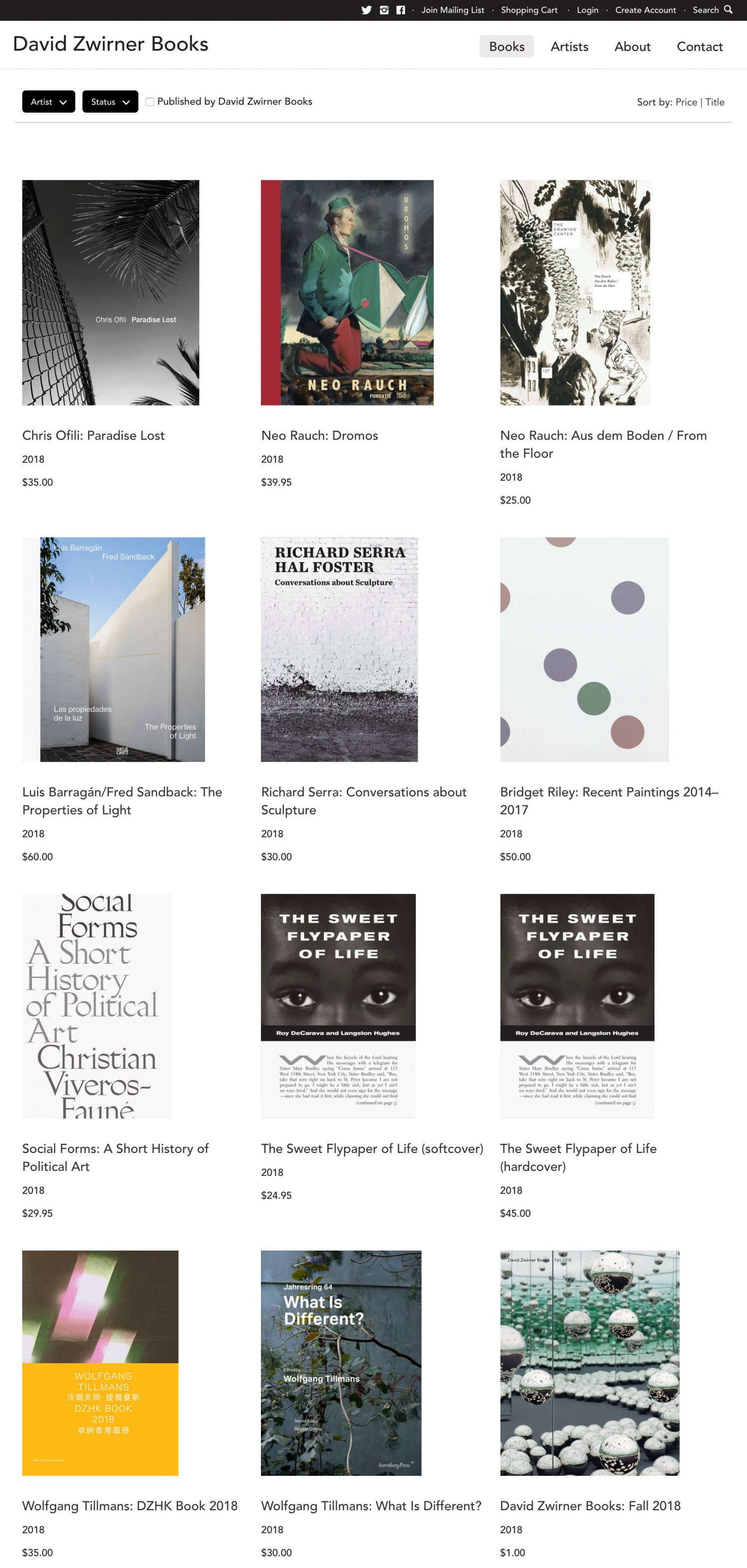 Screenshot of the David Zwirner Books website's books landing page