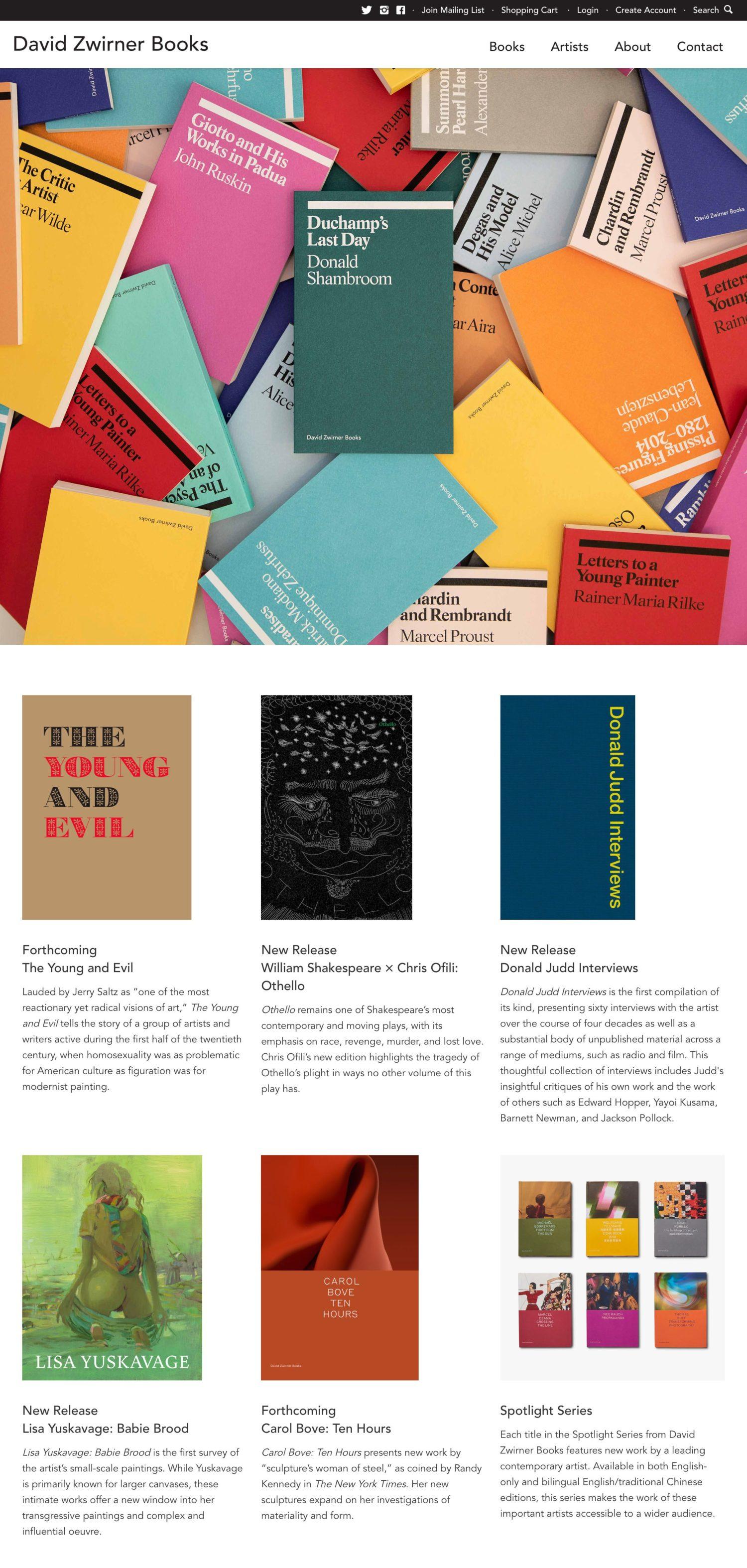 Screenshot of the David Zwirner Books website's homepage