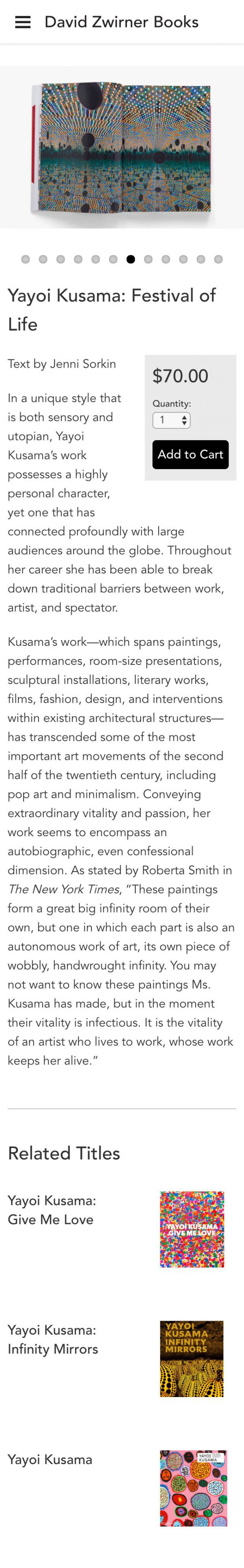 Screenshot of the David Zwirner Books website's books detail page