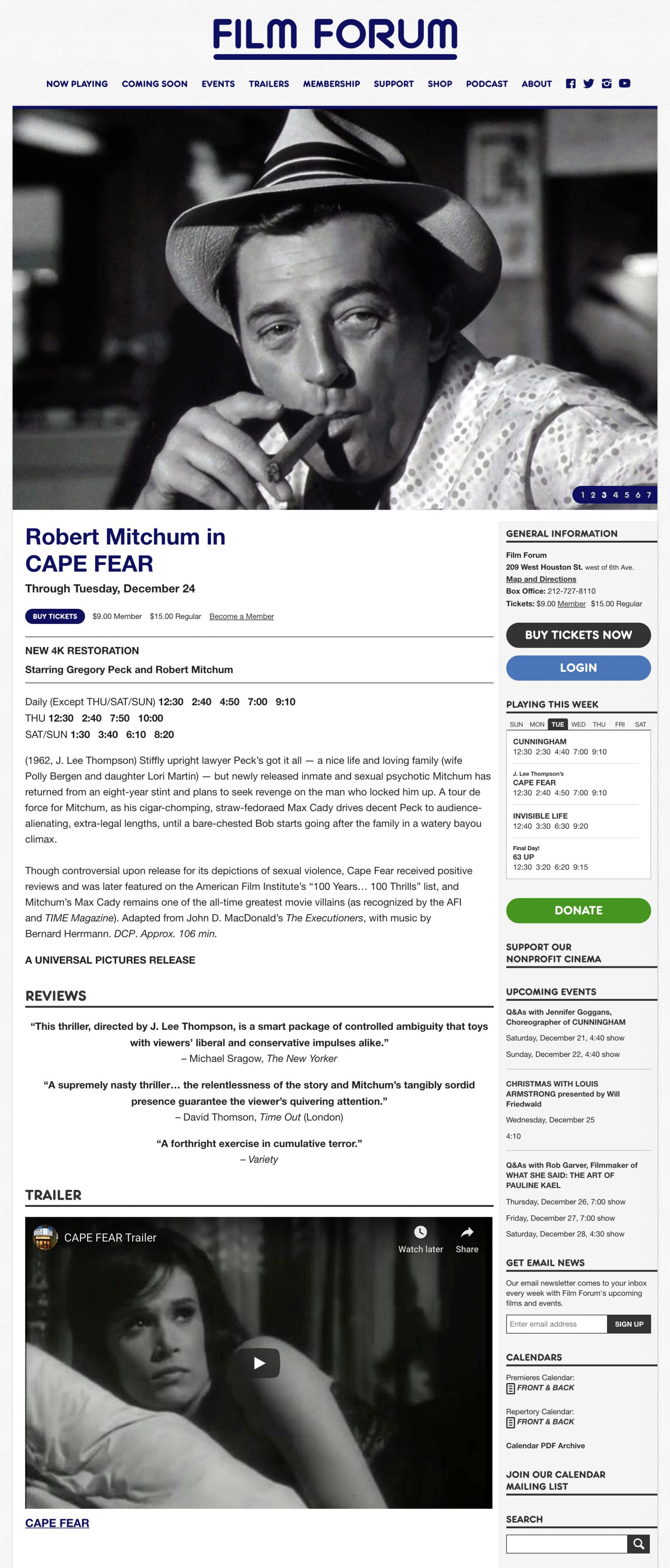 Screenshot of a Film Forum website's film detail page