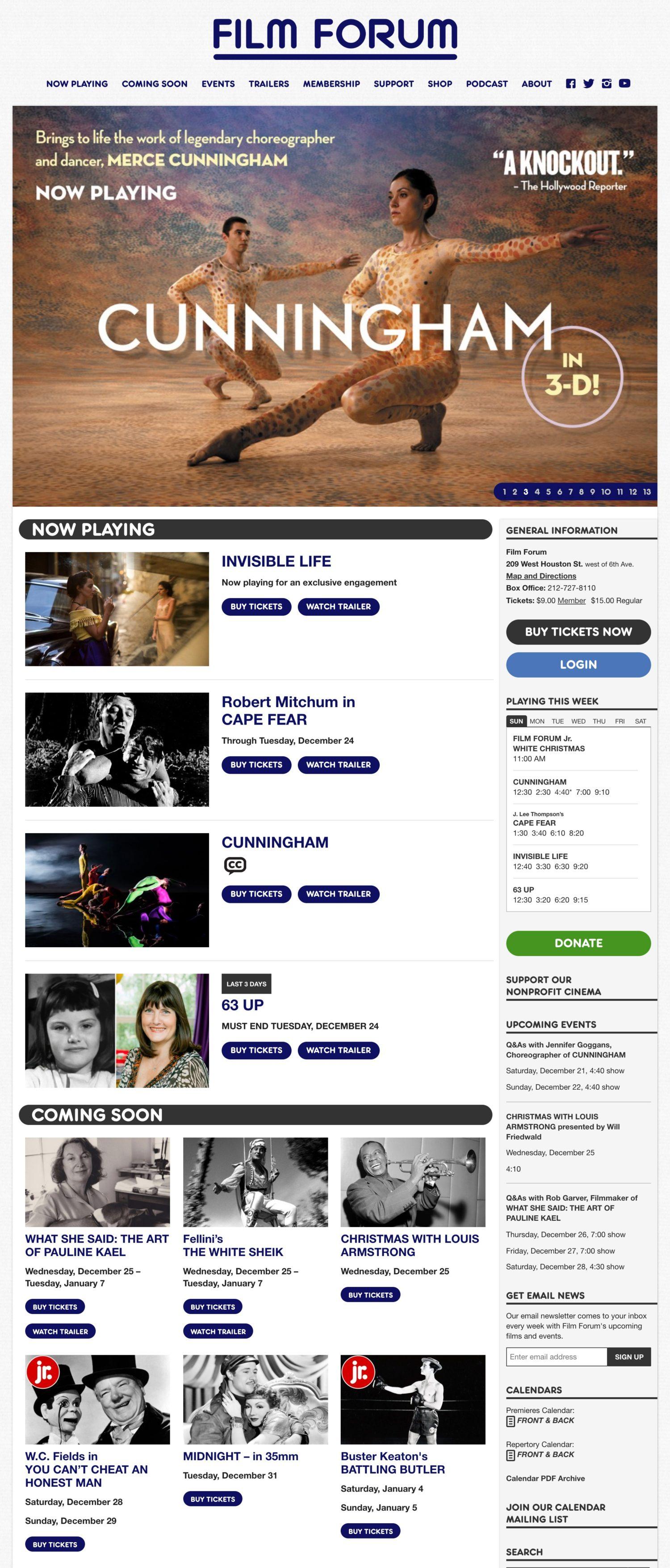 Screenshot of the Film Forum website's homepage