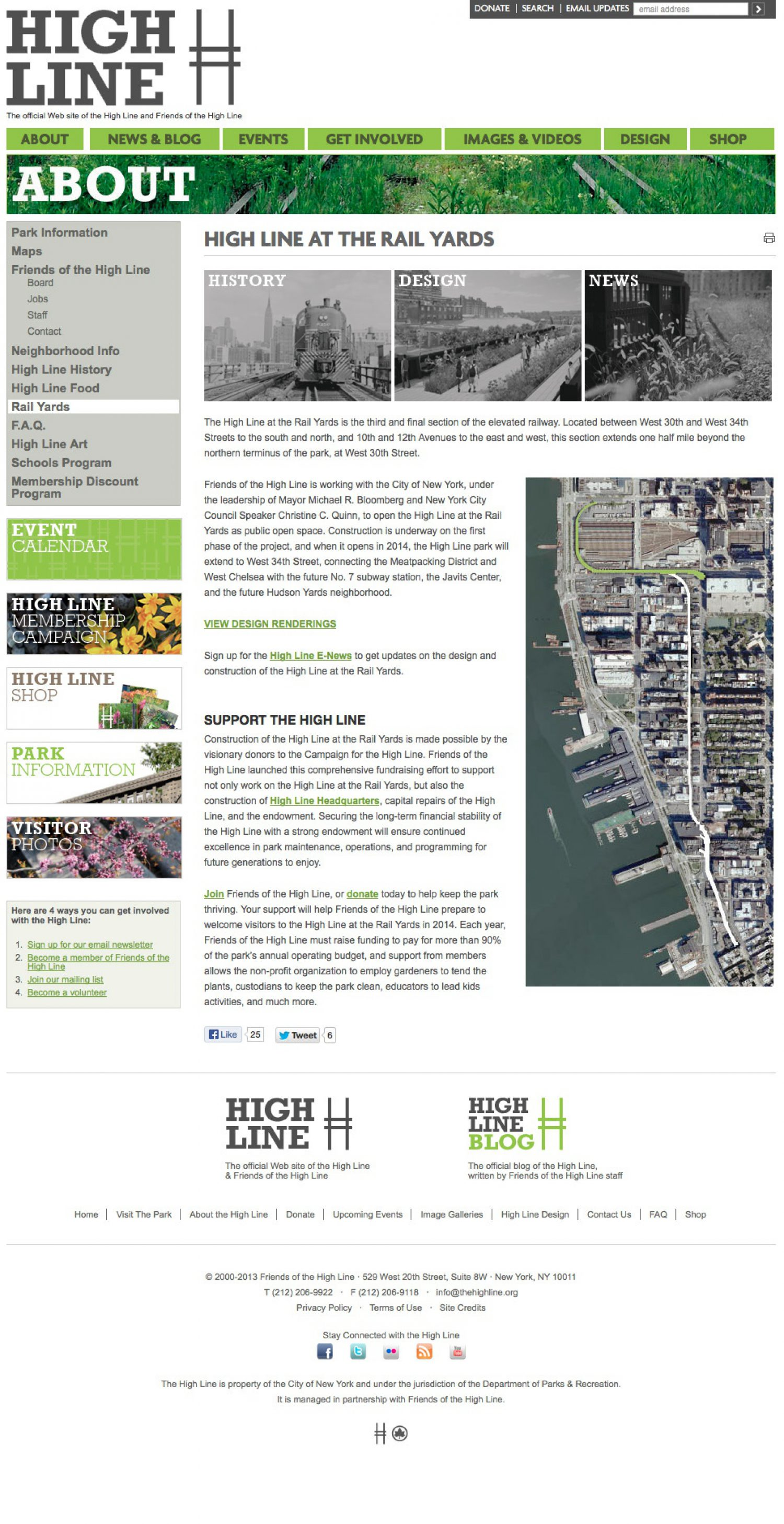 Screenshot of the High Line website's about page