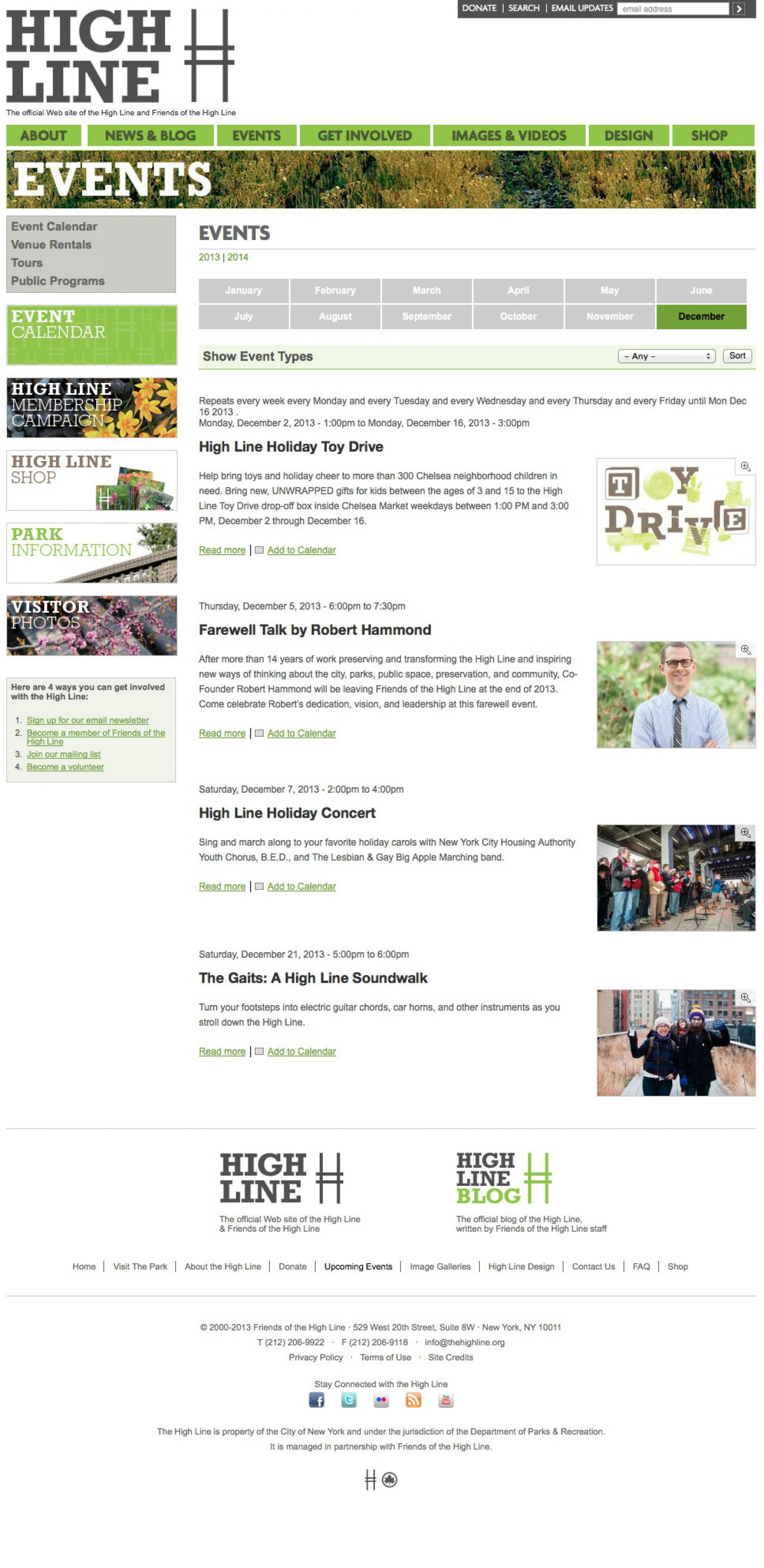 Screenshot of the High Line website's events page