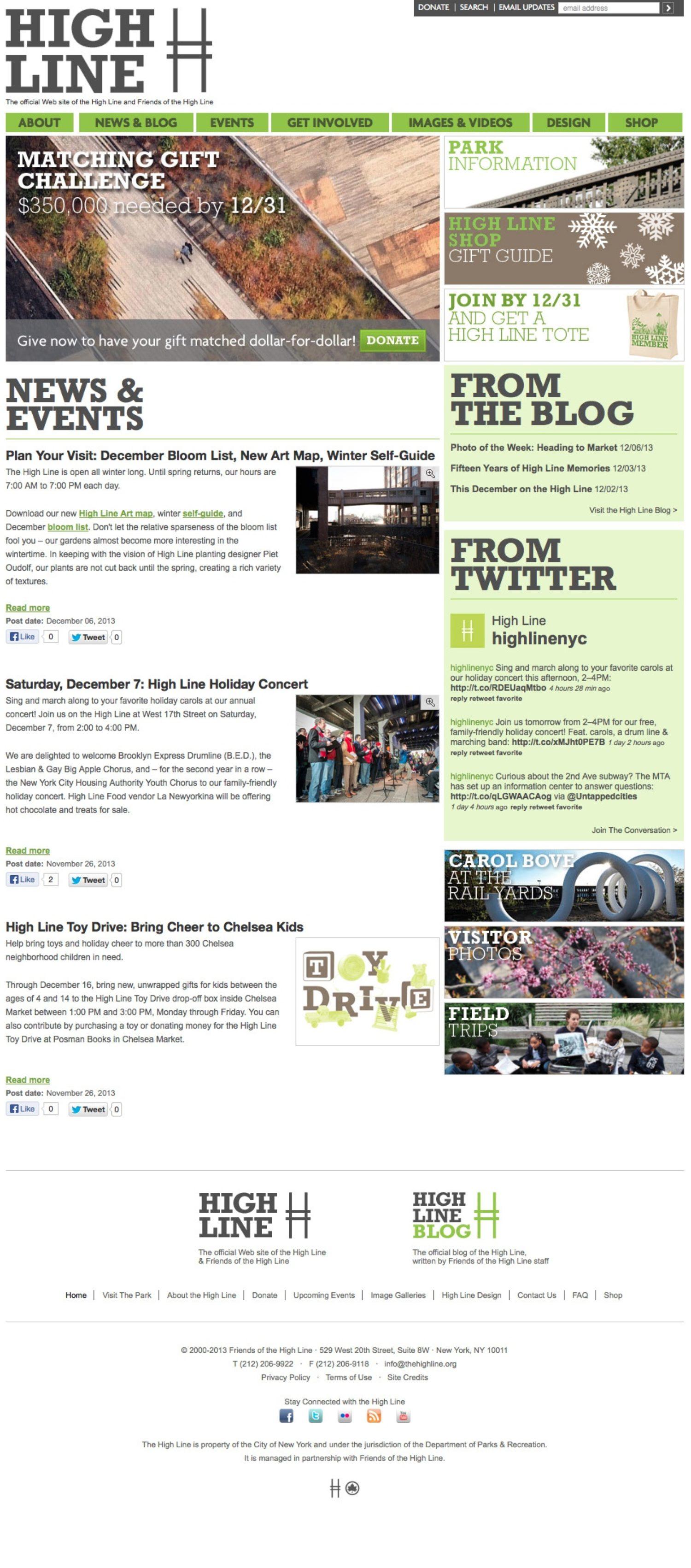 Screenshot of the High Line website's homepage