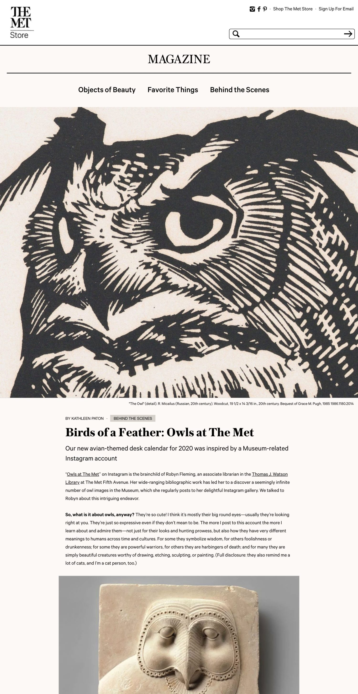 Screenshot of the Metropolitan Museum of Art Store website's article detail page
