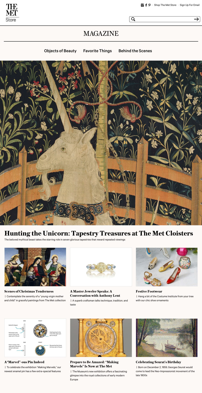 Screenshot of the Metropolitan Museum of Art Store website's homepage