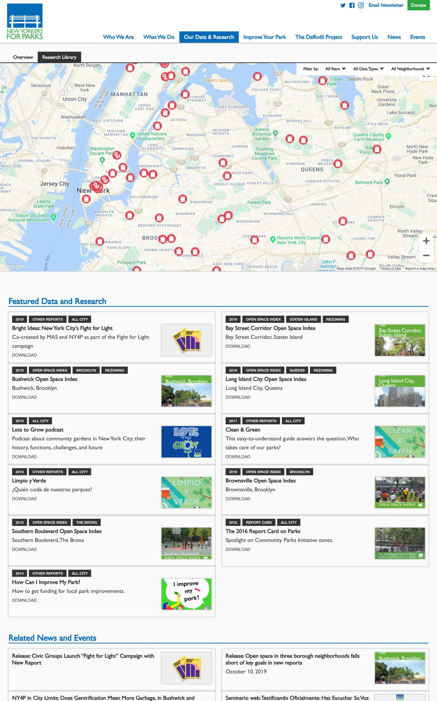Screenshot of the New Yorkers for Parks website's Data and Research Library page