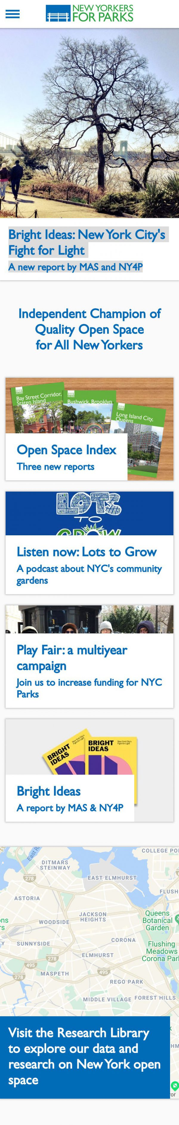 Screenshot of the New Yorkers for Parks website's homepage