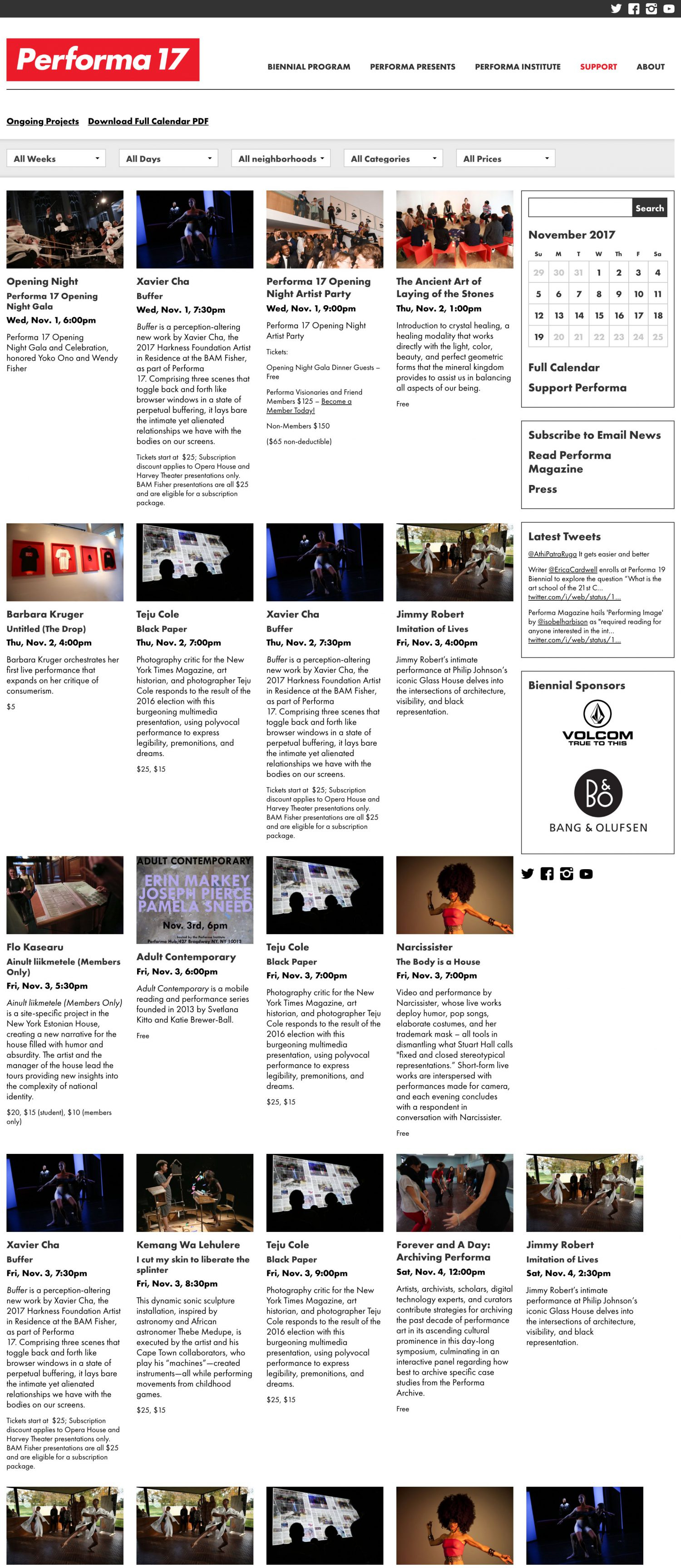 Screenshot of the Performa 17 website's events page