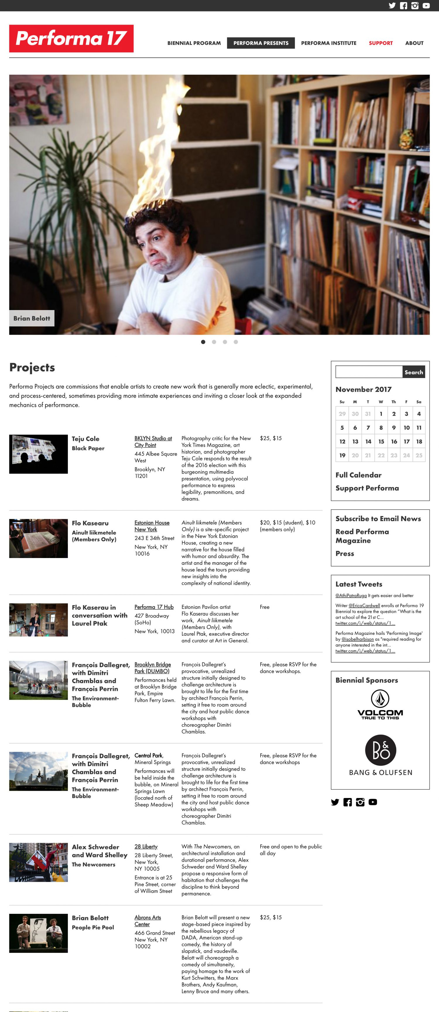 Screenshot of the Performa 17 website's projects page