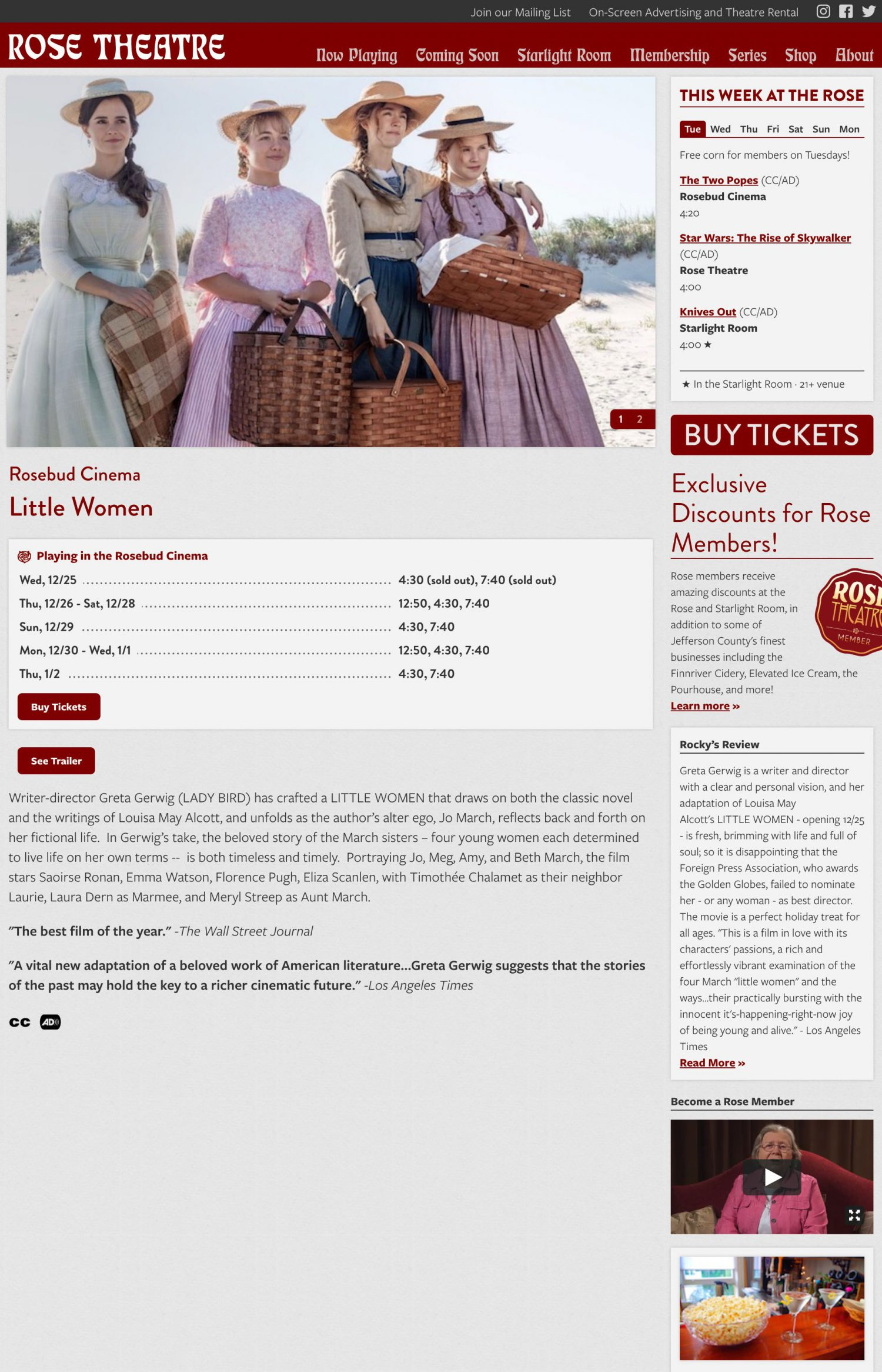Screenshot of the Rose Theatre website's film detail page