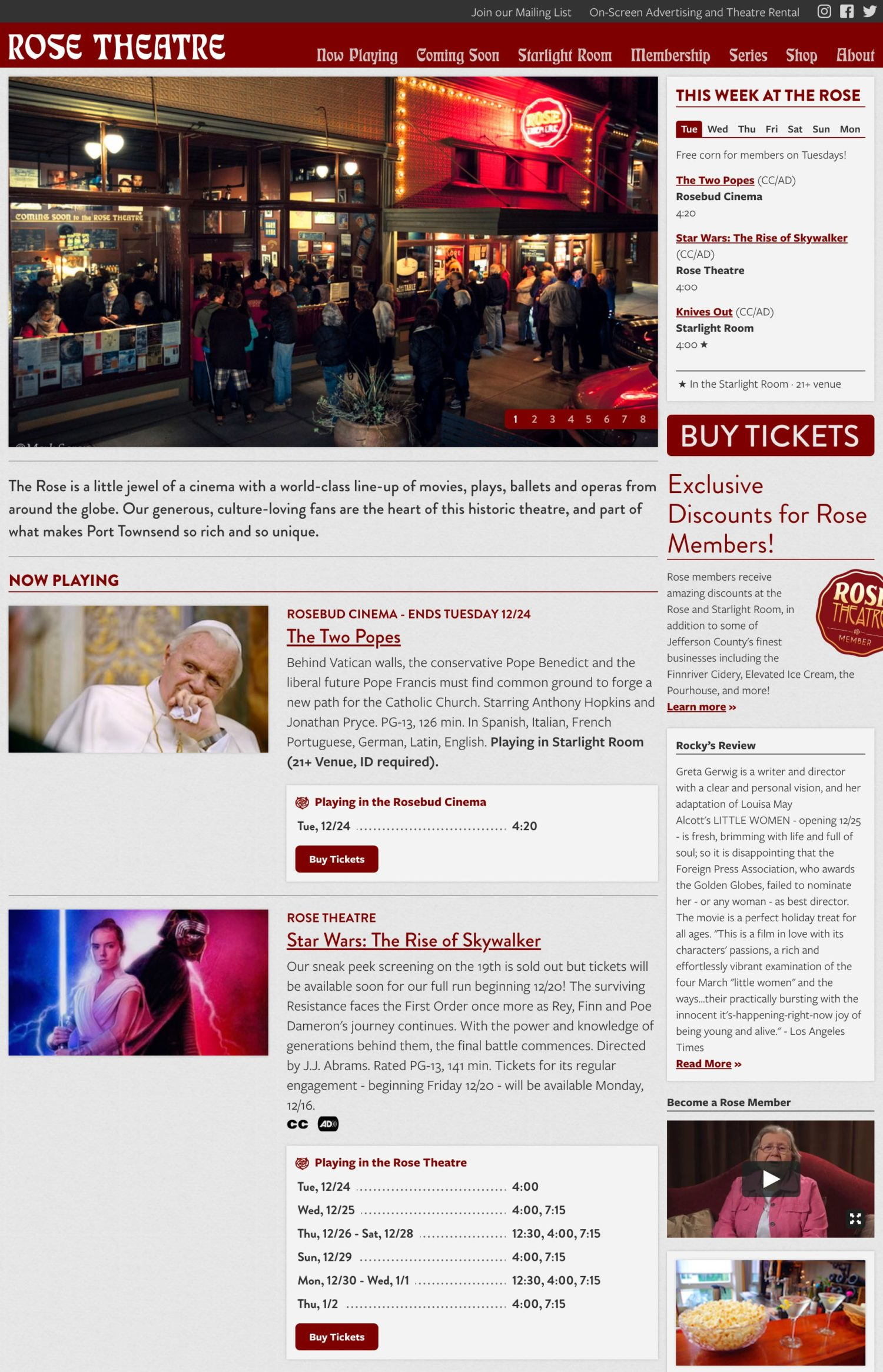 Screenshot of the Rose Theatre website's homepage