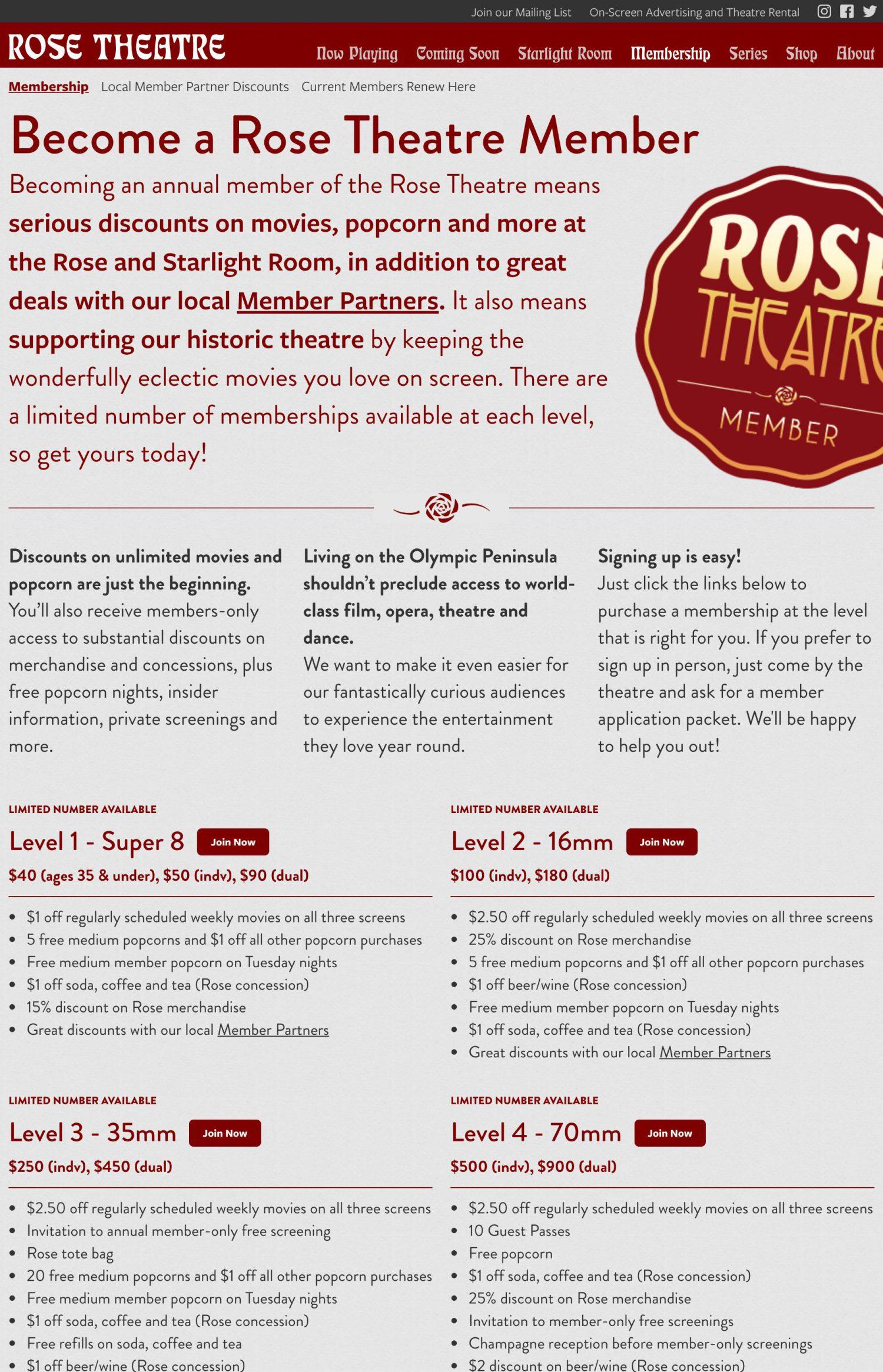 Screenshot of the Rose Theatre website's Membership landing page