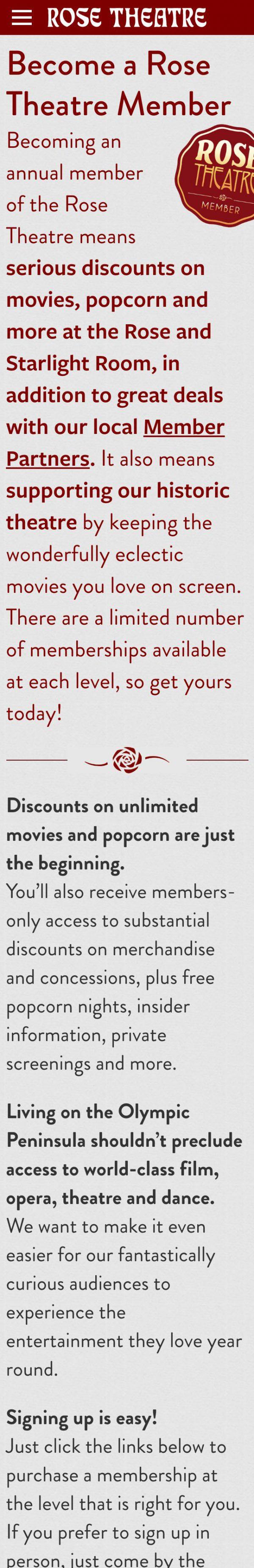 Screenshot of the Rose Theatre mobile website's Membership landing page